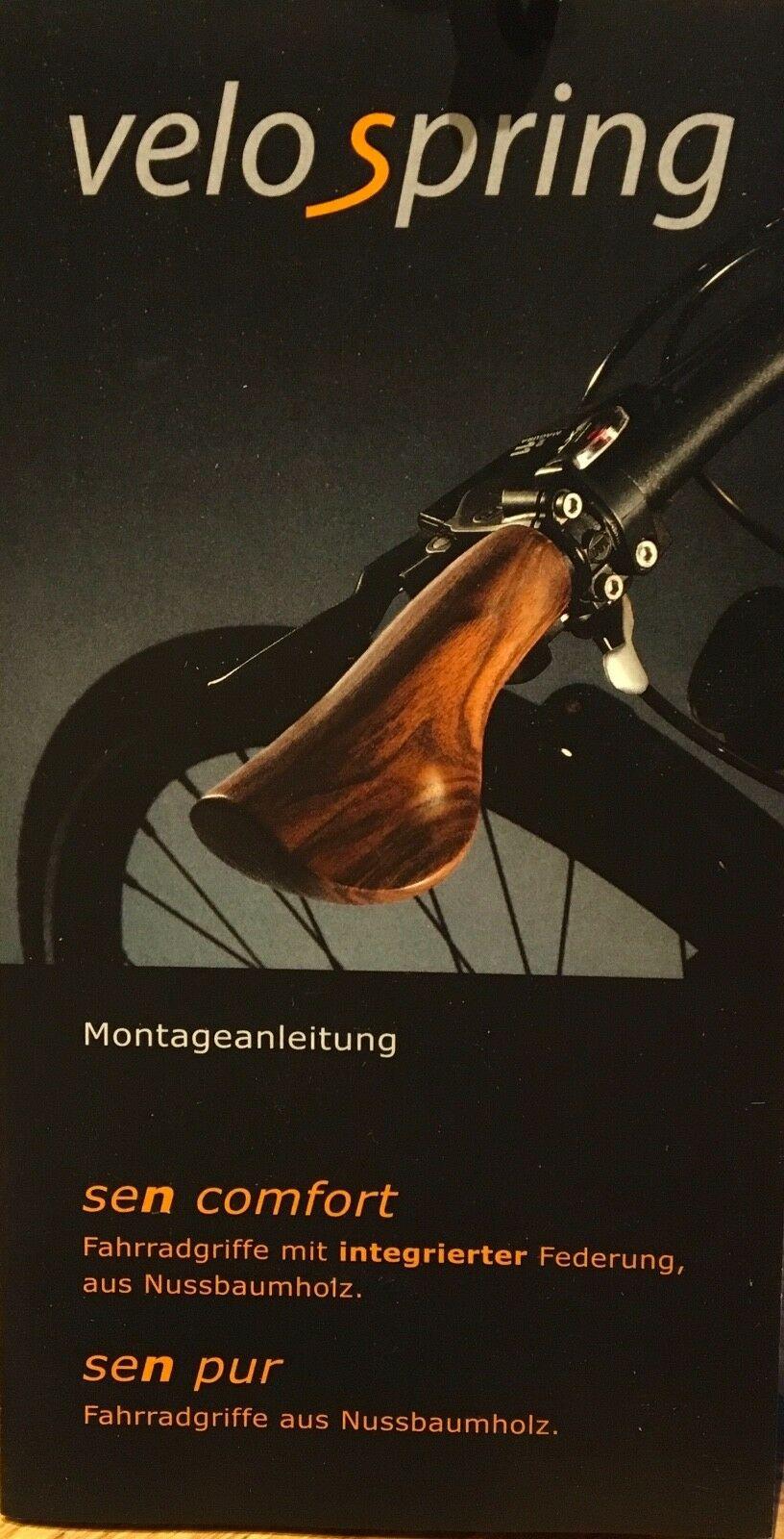 VELOSPRING Lenkergriffe sen comfort Nussbaumholz mit Federung lang//lang Rohloff